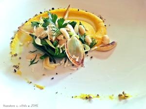 λεμονάτη σιμιγδαλόκρεμα από δίκοχο σιτάρι με κουρκουμά & ζεστή σαλάτα από φασόλια